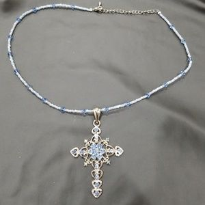 Glass beaded necklace with cross